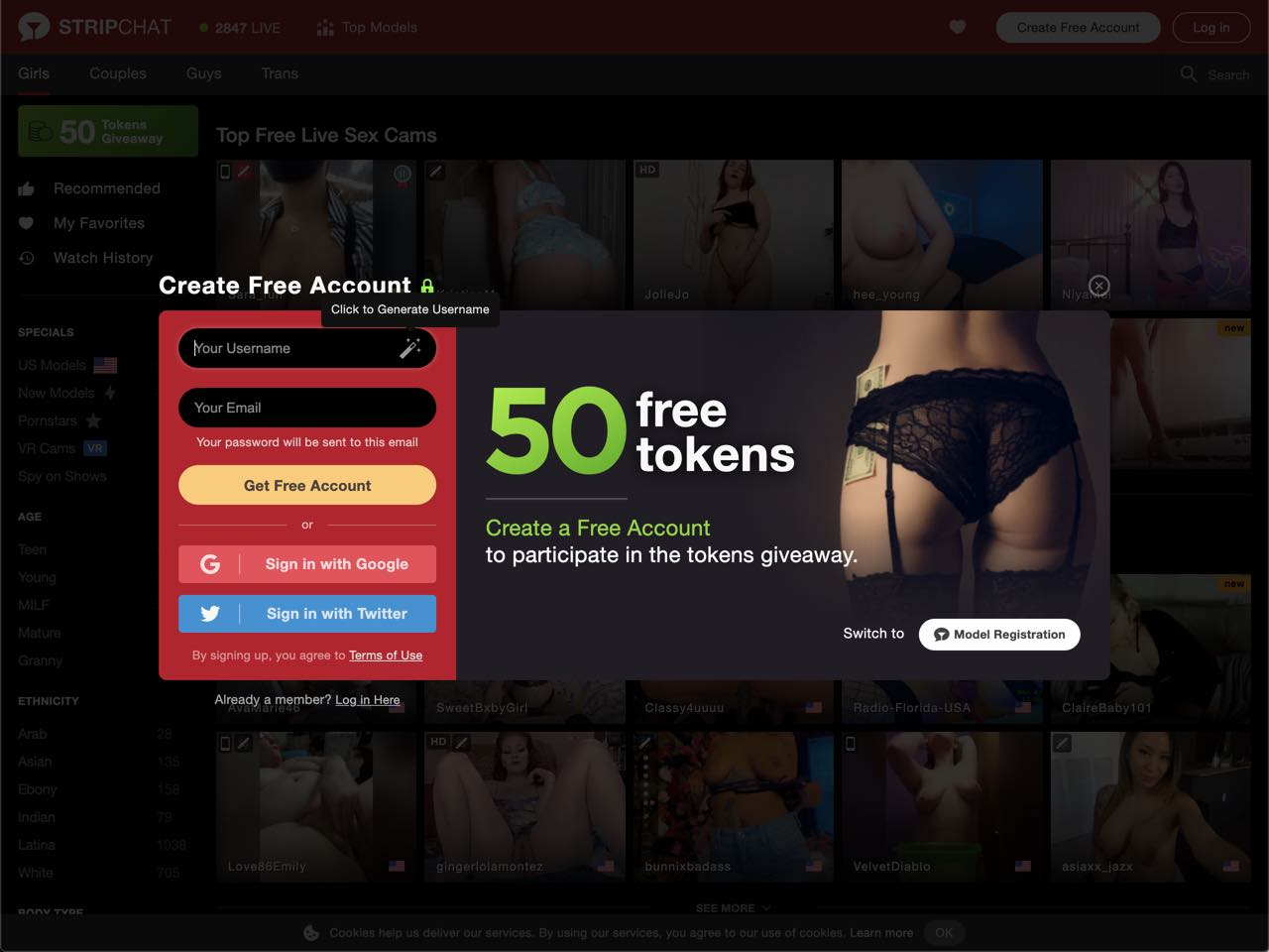 50 free tokens