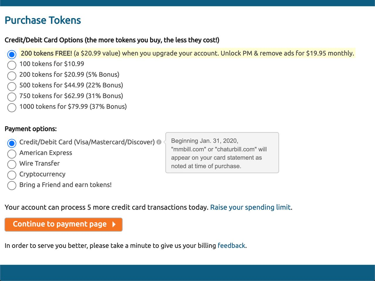 chaturbate token pricing structure